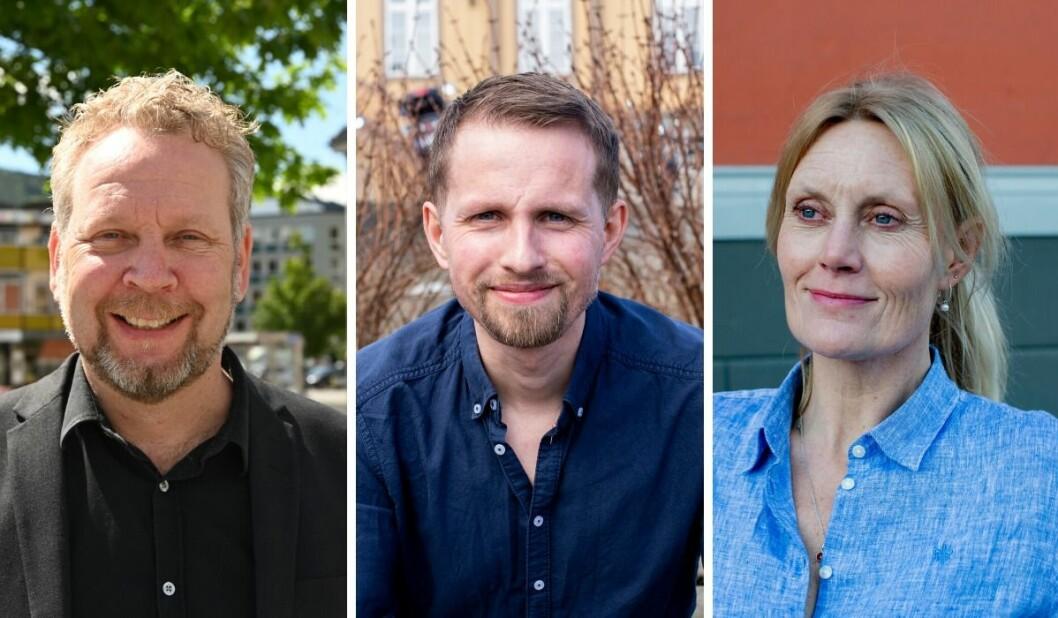 Sjefredaktørene Espen Sandli i Drammens Tidende, Helge Nitteberg i Nordlys og Guri Jortveit i Arbeidets Rett.