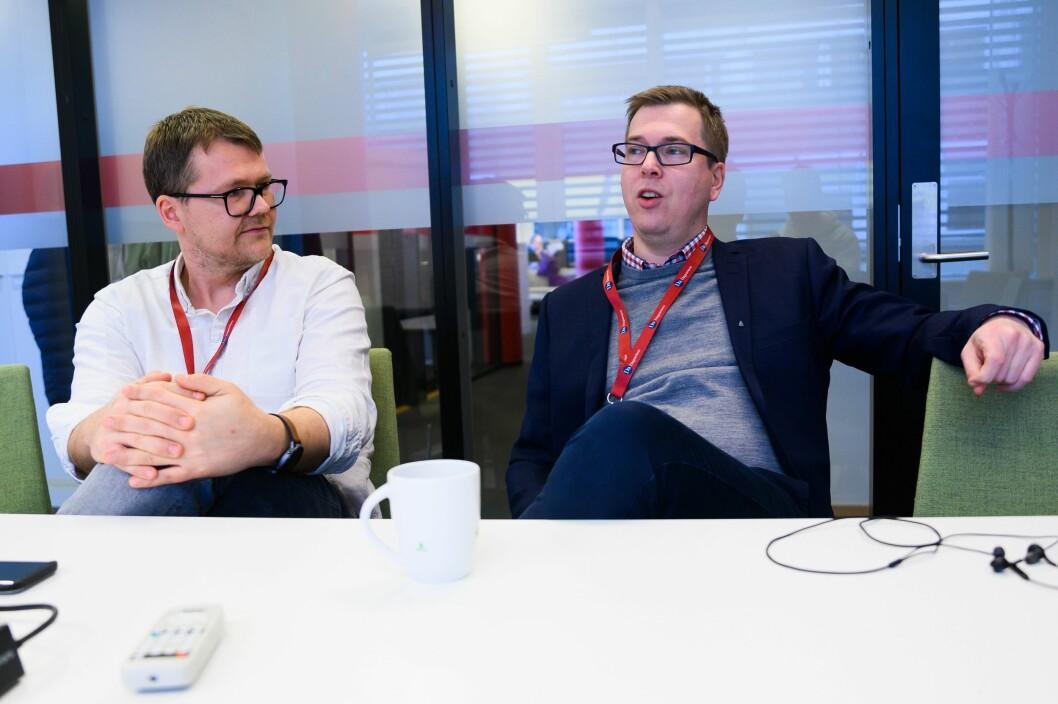 Markedssjef Marius Floberghagen og sjefredaktør og administrerende direktør Eirik Hoff Lysholm i Dagsavisen.