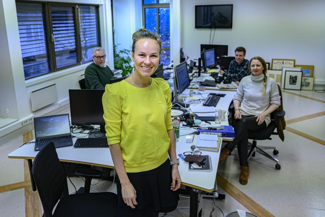 Demokraten-redaksjonen: Tidligere redaktør Tomm P. Pedersen, Henriette Ydse Krogstad, Hermund Kjernli og Gry Wold.