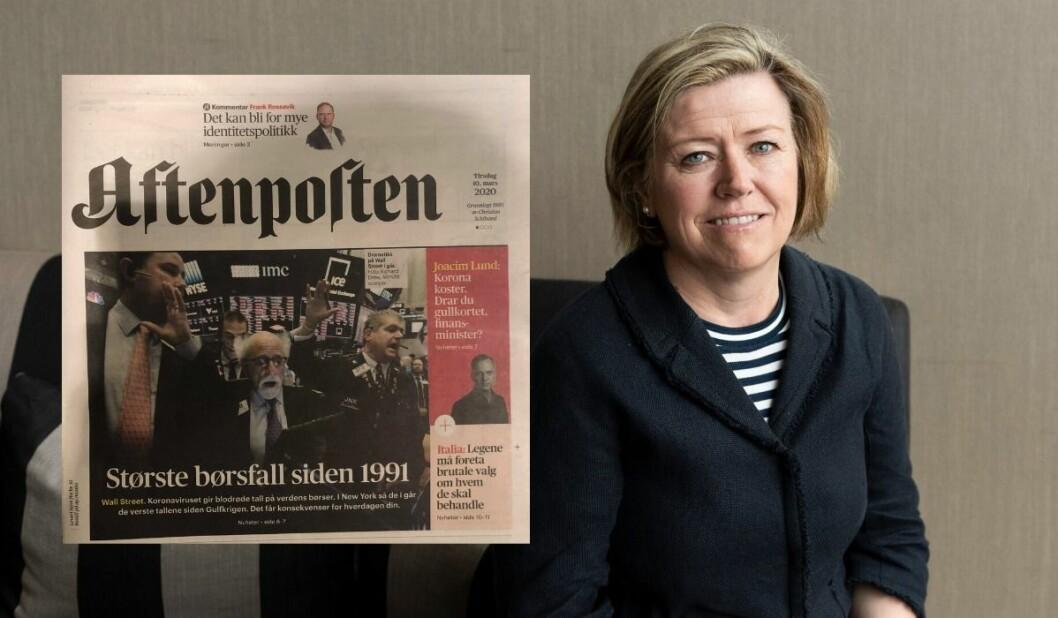 Aftenposten har blandet «børsfall« og «oljefall» på tirsdagens papirforside.