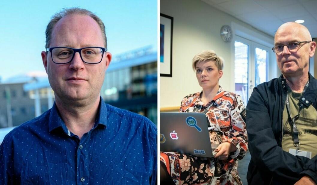 Tomas Bruvik, generalsekretær i LLA, og styreleder Silje Sjursen Skiphamn og sekreteriatsleder John Bones i Skup.