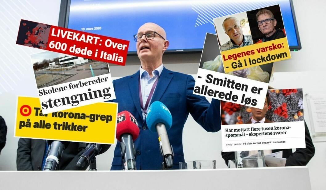 Helsedirektør Bjørn Guldvog, flankert av gelseminister Bent Høie og Line Vold i Folkehelseinstituttet på pressebrieif hos Helsedirektoratet. Innfelte artiklar er frå Dagbladet, VG, Nettavisen og NRK.