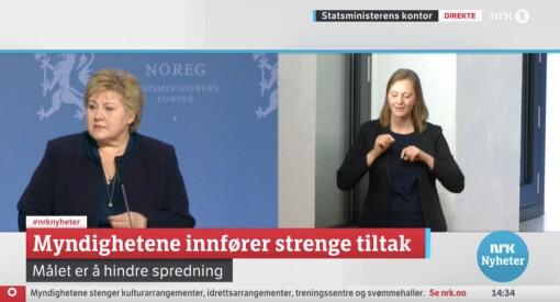 I 17 minuttar gjekk regjeringa sin korona-pressekonferanse utan teiknspråk-tolk