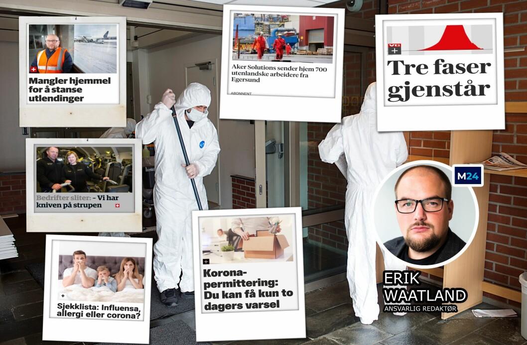 «Irriterer du deg over å måtte betale for journalistikk om virusutbruddet? Her er forklaringen», skriver Erik Waatland.