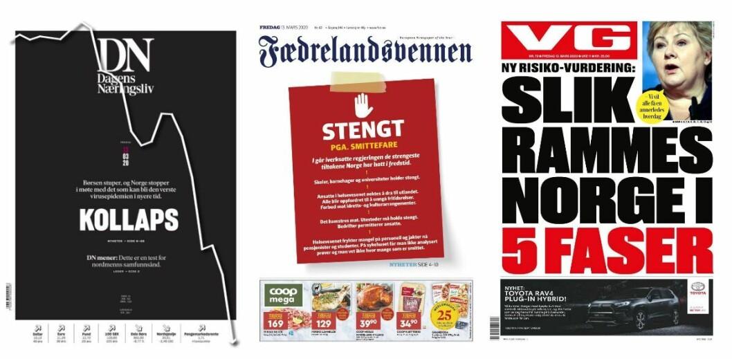 Dagens Næringsliv, Fædrelandsvennen og VG fredag 13. mars.