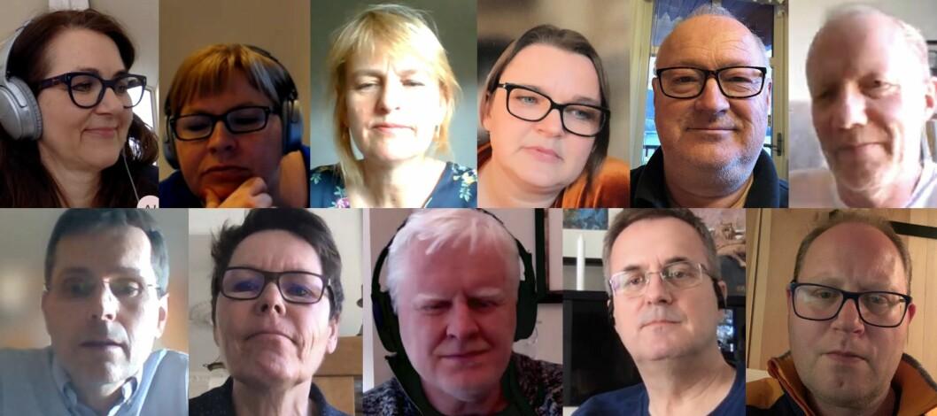 Flere ganger i uken har Bransjerådet med medlemmer fra seks medieorganisasjoner digitale møter. Øverst f.v. Reidun Kjelling Nybø (NR), Elin Floberghagen (NP), Randi Øgrey (MBL), Hege Iren Frantzen (NJ), Rune Hetland (LLA) og Arne Jensen (NR). Nederst f.v. Bjørn Wisted (MBL), Berit Nyman (Fagpressen), Dag Idar Tryggestad (NJ), Per Brikt Olsen (Fagpressen) og Tomas Bruvik (LLA).