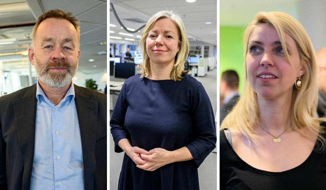 Sjefredaktør og administrerande direktør i Dagens Næringsliv, Amund Djuve, sjefredaktør og administrerande direktør Trine Eilertsen i Aftenposten og sjefredaktør og administrerande direktør Alexandra Beverfjord i Dagbladet.