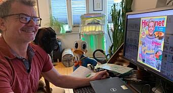 Redaktør Ole Martin Bjørklid og bokseren Zita lager Hjemmet fra «Hjemmet-kontor»