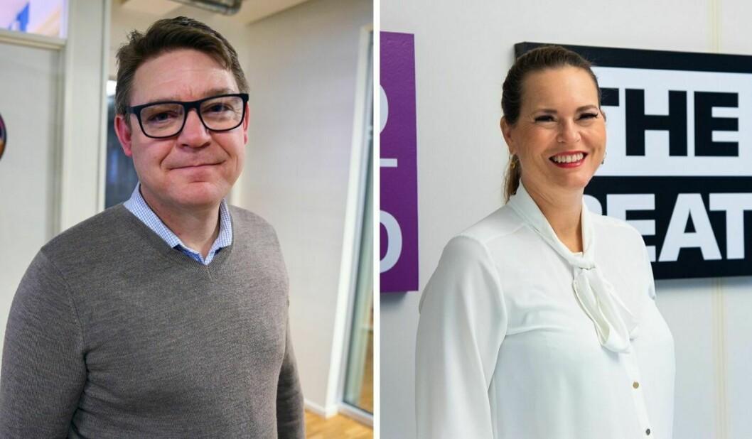 P4-sjef Kenneth Andresen (til venstre) mener Radio Metro-sjef Hilde Apneseth og hennes kanaler driver med ulovligheter.