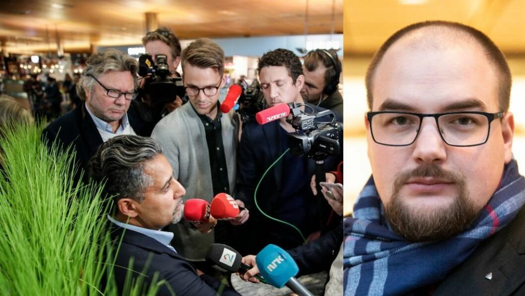Kultur- og medieminister Abid Q. Raja. Innfelt: Erik Waatland, ansvarlig redaktør og daglig leder i Medier24.