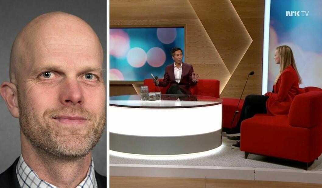 Programleiar Hallgeir Kvadsheim i Luksusfellen, og NRK-programmet «Din økonomi NÅ» med programleiar Christian Strand og gjest Silje Sandmæl (t.h.) i DNB. Også Derya Incedursun frå Nordea var i studio.