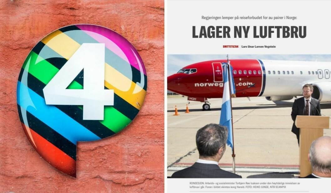 P4-logoen og skjermdump av Klassekampen-artikkelen.
