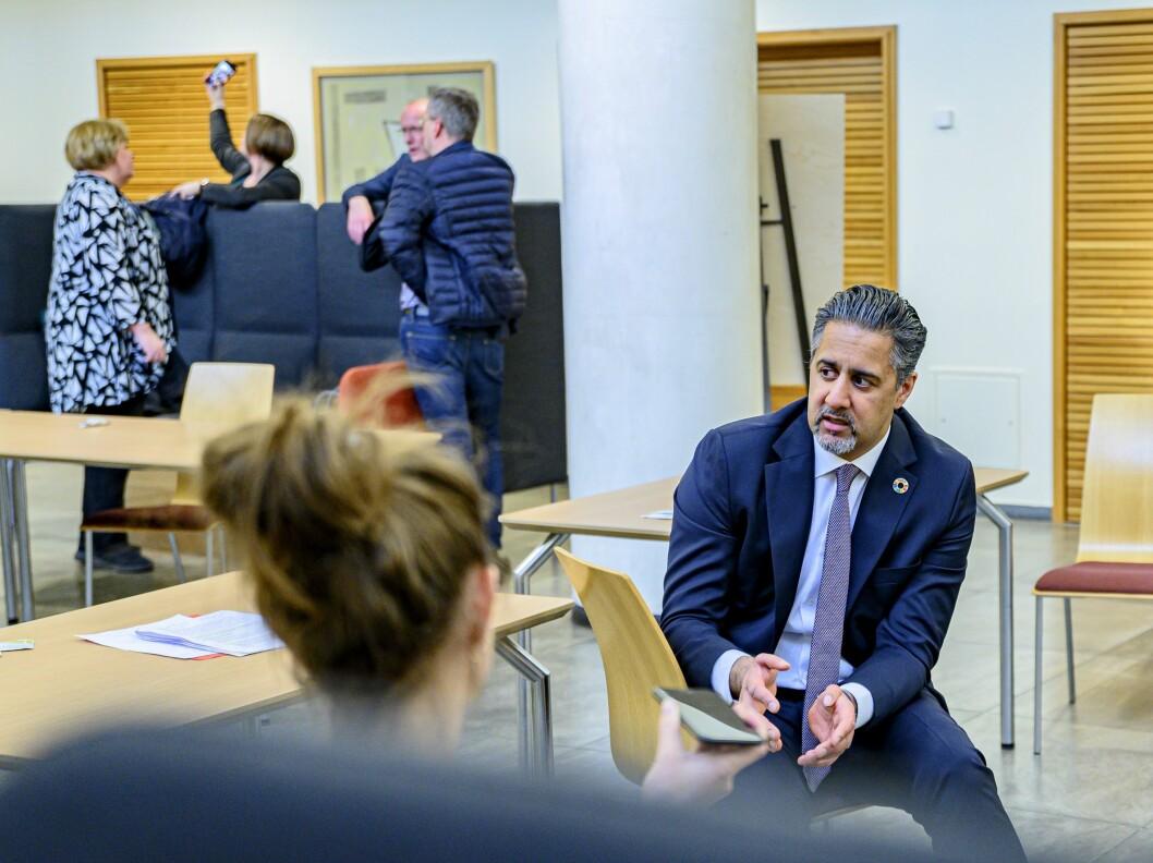 Abid Raja, her fra møtet med presseorganisasjonene før påske.