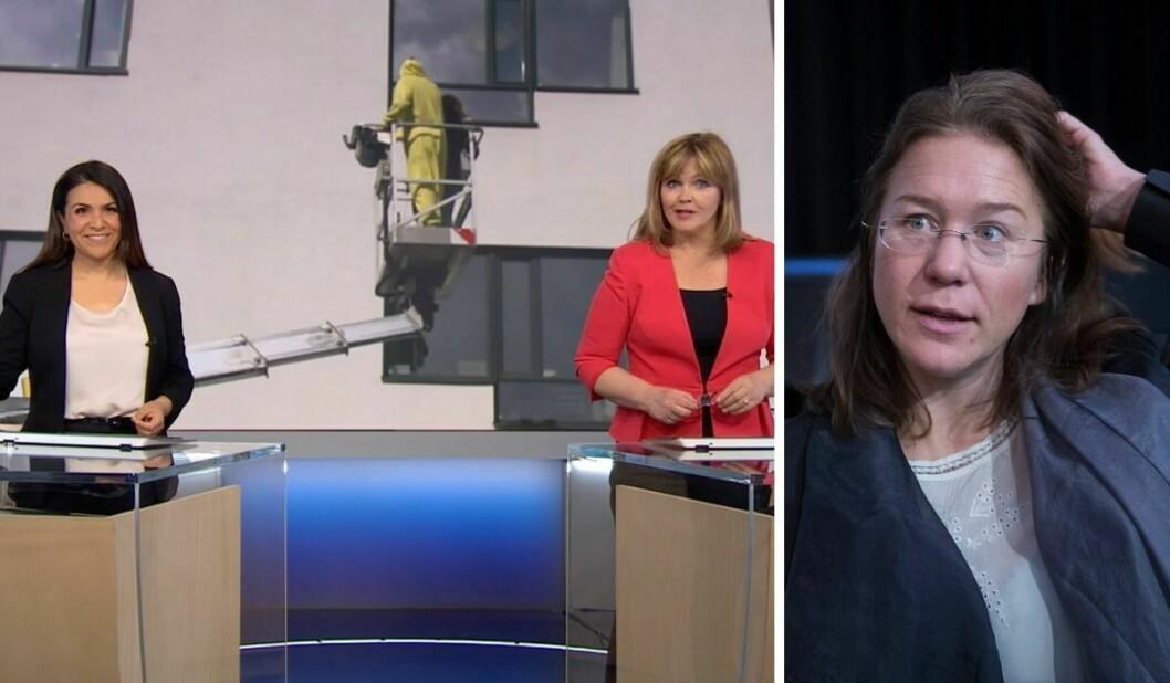 Dagsrevyen-ankera Rima Iraki og Ingvild Bryn presenterte reportasjen måndag kveld. Til høgre er førsteamanuensis Anine Kierulf.