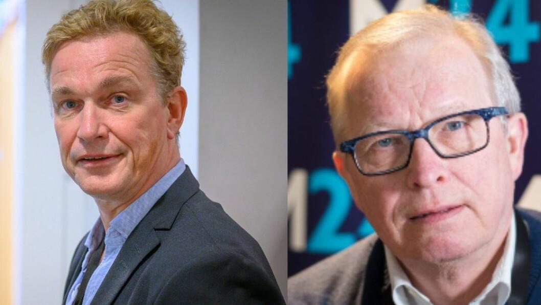 Espen Olsen Langfeldt er redaktør for Direkte i NRK Nyhetsdivisjonen. Til høyre: Mediekritiker Bernt Olufsen.