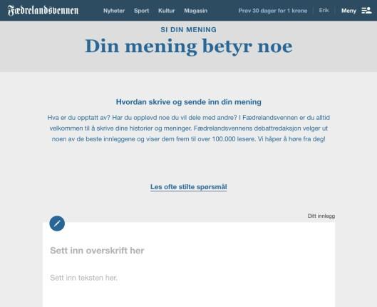 Faksimile fra Fædrelandsvennens nettside.