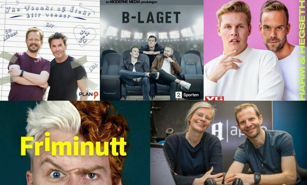 NRKs «Friminutt» med Herman Flesvig og Mikkel Niva, VGs «Harm og Hegseth» og Aftenpostens «Aftenpodden» er blant de nominerte i de to podkast-kategoriene.