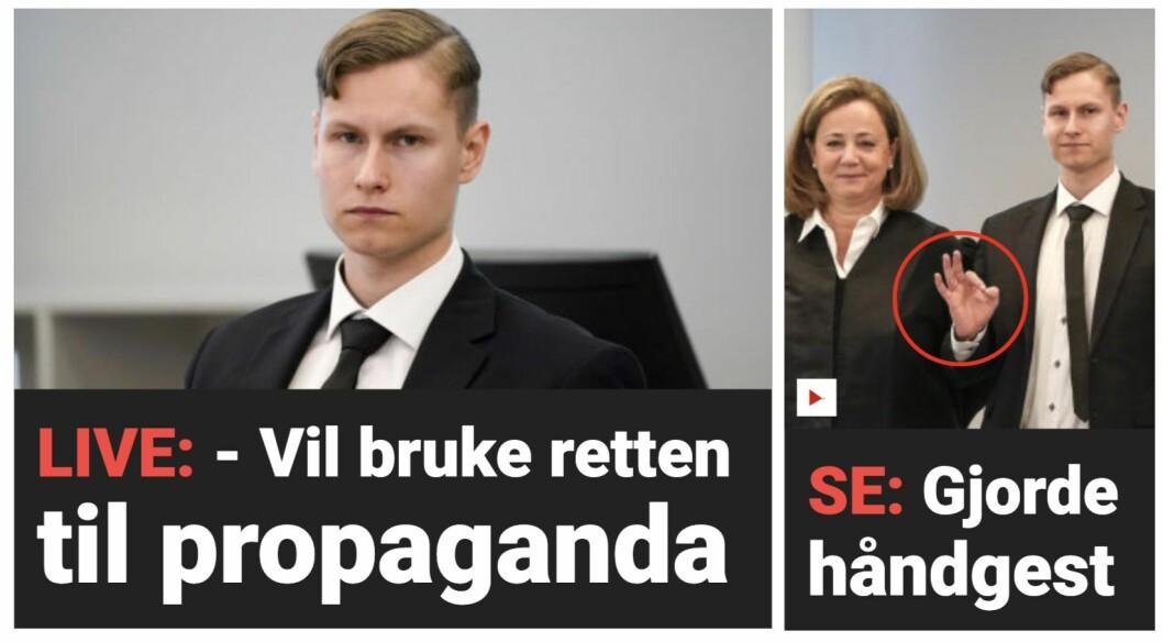 Skjermdump av Dagbladet-fronten torsdag føremiddag.