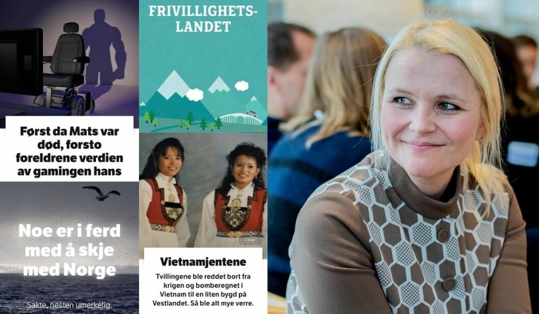 Spesialene om klimaendringer, gameren Mats, de to jentene fra Vietnam og nordmenns frivillige innsats er blant de mest leste dybdeartiklene hos NRK i fjor. Her er en fornøyd nettsjef Hildegunn Soldal, avbildet ved en tidligere anledning.