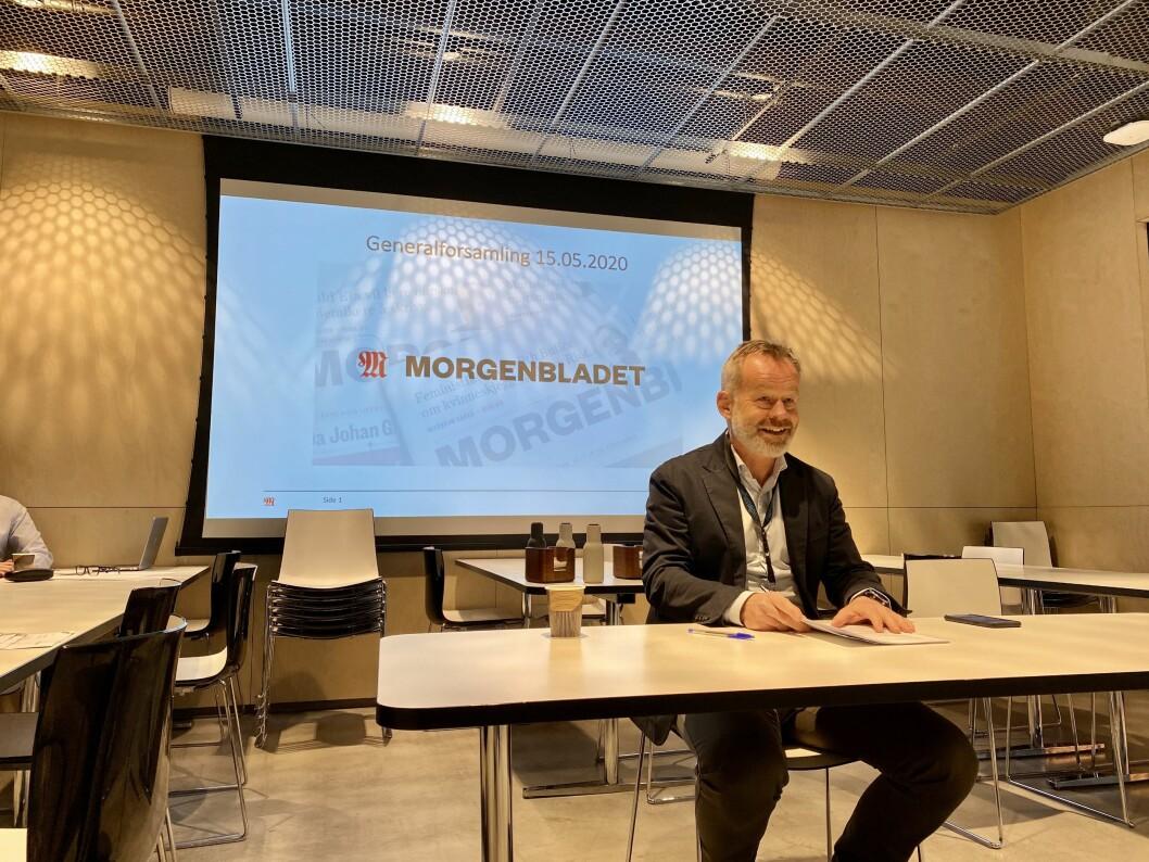 Styreleder Amund Djuve i Morgenbladet under generalforsamlingen fredag 15. mai.