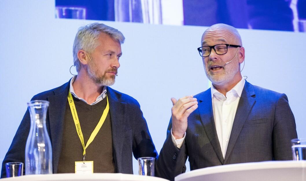 TV 2-sjef Olav T. Sandnes og Thor Gjermund Eriksen - her fra toppmøtet under Nordiske mediedager i Bergen i fjor.
