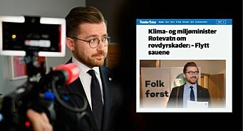 Rotevatn reagerer på tittel i Trønder-Avisa: – Ikke greit