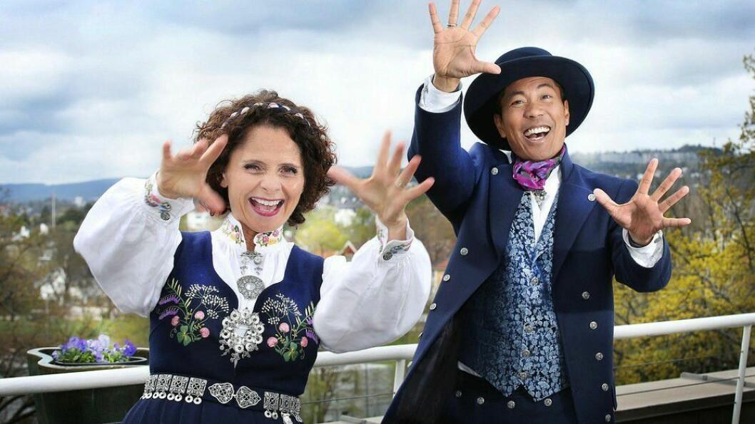 Nadia Hasnaoui og Christian Strand ledet det norske folk gjennom NRKs 17. mai-sending fra taket på Marienlyst.