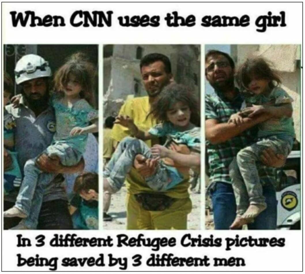 En montasje av tre bilder av en jente som bæres av tre forskjellige menn, har gjentatte ganger blitt brukt som «bevis» på at mediene lyver. Bildene er fra samme situasjon og av samme jente, skriver Faktisk.