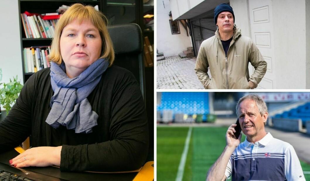 Generalsekretær Elin Floberghagen i Norsk Presseforbund. Til høyre: Håvard Melnæs. Nederst: Pål Asbjørn Bjerketvedt, generalsekretær i Norges Fotballforbund