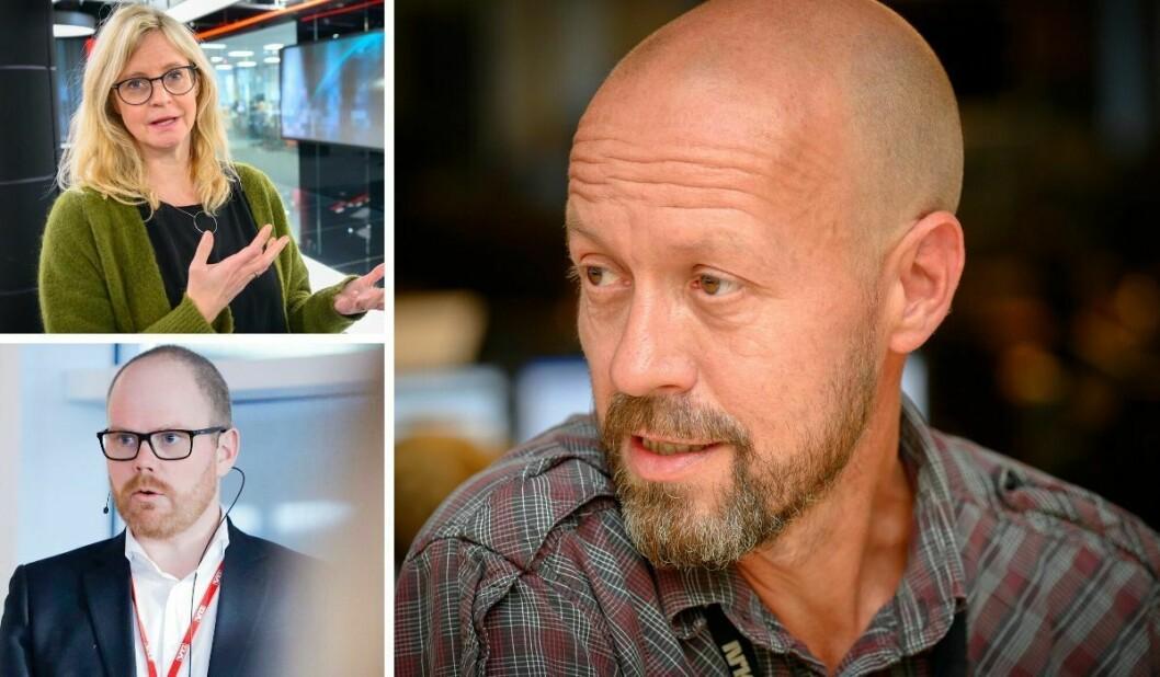 Nyheitsredaktør Karianne Solbrække i TV 2, VG sin sjefredaktør Gard Steiro og etikkredaktør Per Arne Kalbakk i NRK.