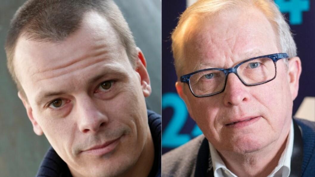 Redaktør Håvard Melnæs i Josimar og mediekritiker Bernt Olufsen.