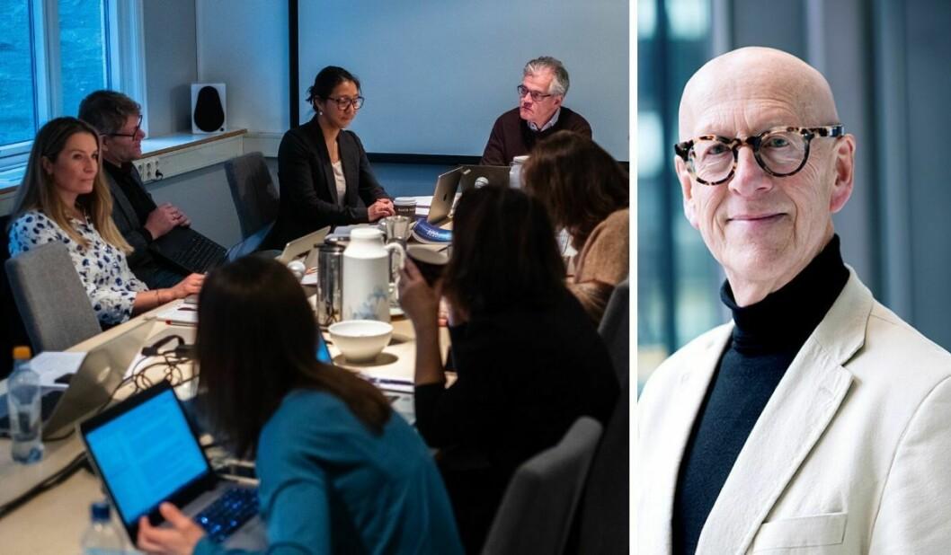 T.v.: Pressens Faglige Utavlg, med leiar Alf Bjarne Jonhsen (til høgre). T.h.: Professor Harald Nils Røstvik ved Universitetet i Stavanger.