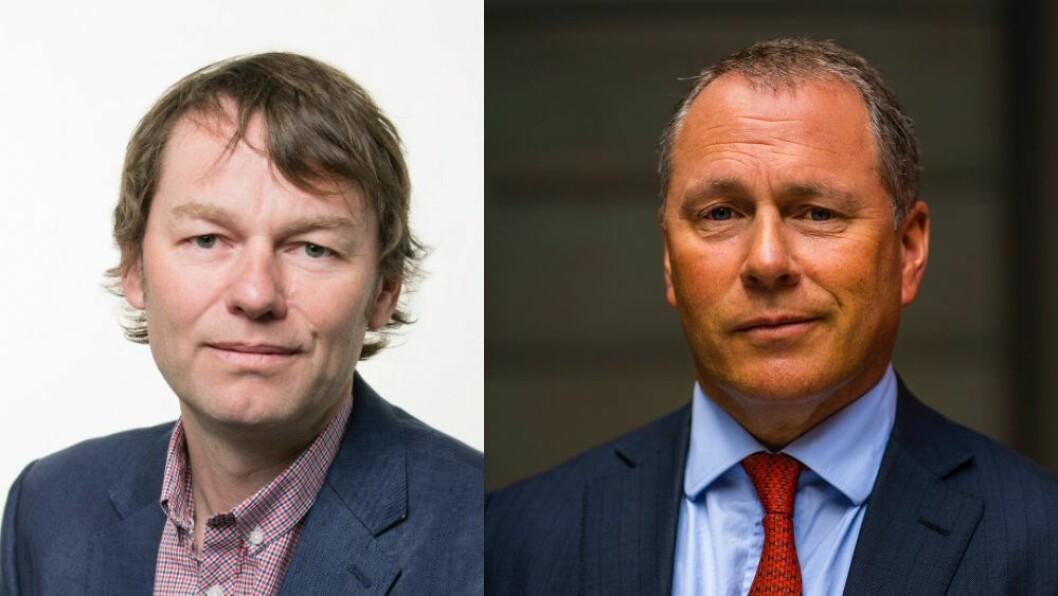 Hodejeger Bård Idås og oljefondsjef Nicolai Tangen.