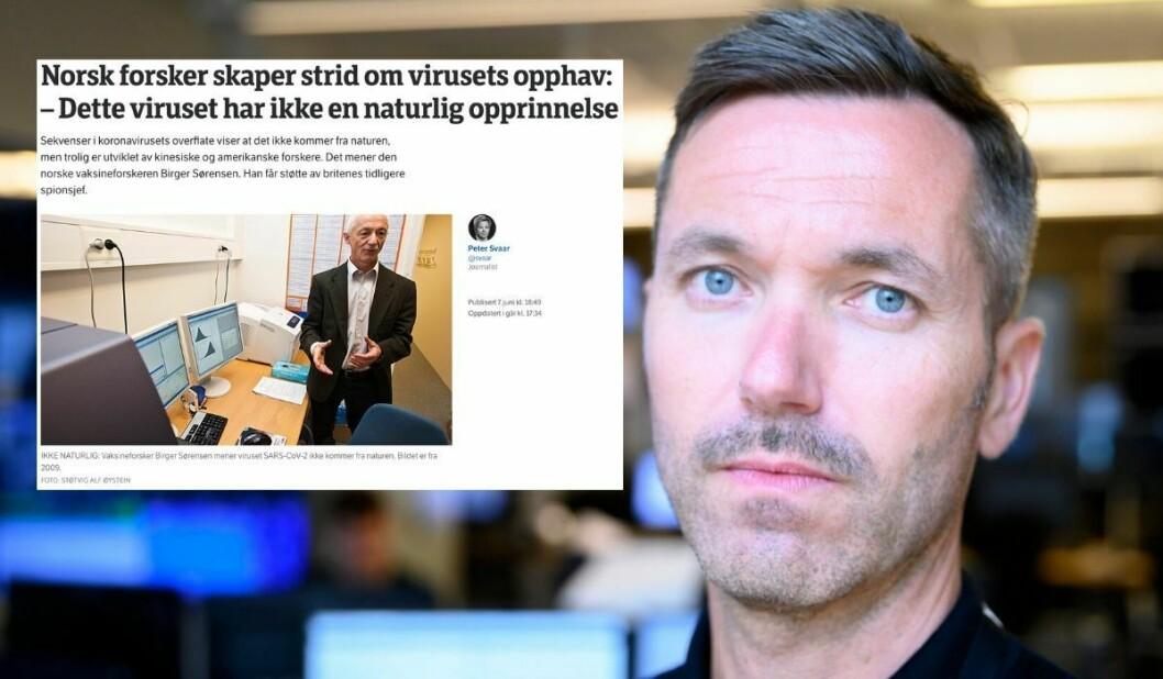 Fagredaktør Marius Tetlie i NRK Nyheter. Innfelt er NRK-artikkel.