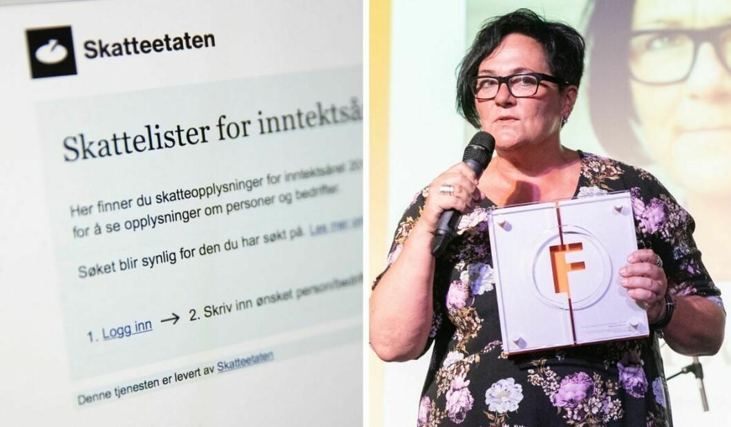Illustrasjonsfoto av skattelistene til Skatteetaten til venstre. Til høgre er redaktør Tove Lie i Khrono.