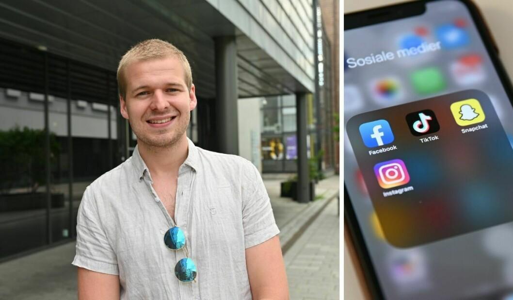 Medieanalytiker Jonas Østrem i Kantar. Til høyre er de sosiale mediene Facebook, TikTok, Instagram og Snapchat.