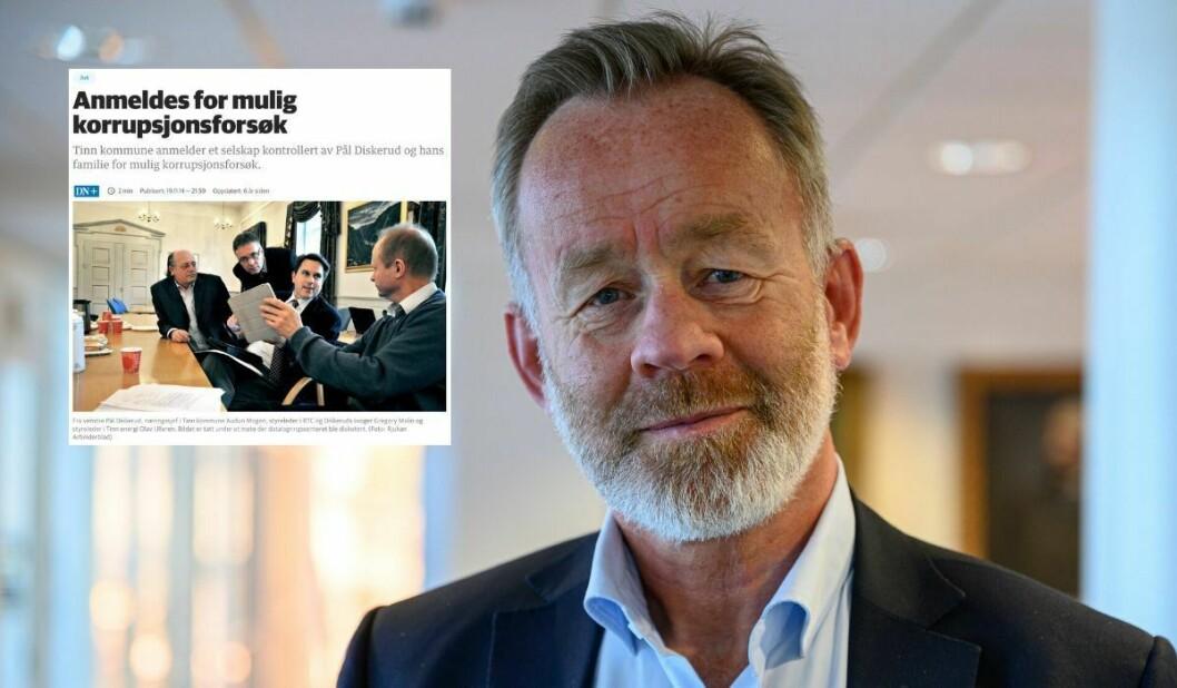 Sjefredaktør Amund Djuve i Dagens Næringsliv. Innfelt er artikkelen frå 2014.
