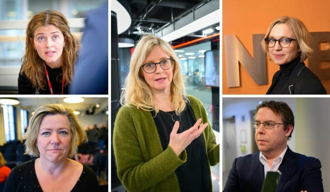 Nyheitsredaktørane Tora Bakke Håndlykken i VG, Tone Tveøy Strøm-Gundersen i Aftenposten. Karianne Solbrække i TV 2, Sarah Sørheim i NTB og Frode Hansen i Dagbladet.
