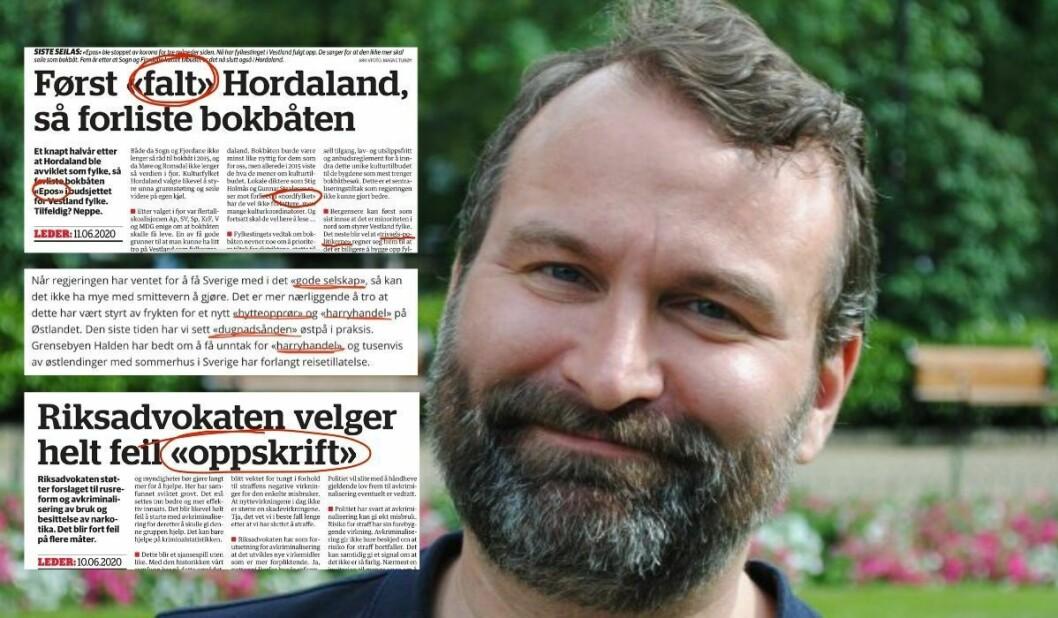 SV-politikar Mikkel Grüner i Bergen. Innfelt er døme på hermeteikn i Bergensavisen sine leiarartiklar.