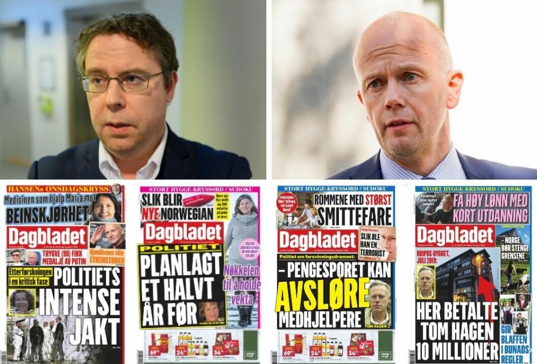 Nyhetsreadktør Frode Hansen i Dagbladet (t.v), Tom Hagens forsvarsadvokat Svein Holden og et utvalg av Dagbladets forsider i mai. (Foto: Ole Alexander Saue, Fredrik Hagen og skjermdump fra Dagbladets e-avis).