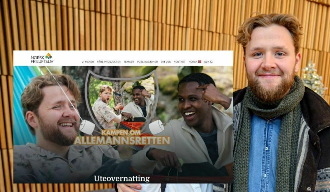 P3morgen-programleiar Martin Lepperød. Innfelt er kampanjen for Norsk Friluftsliv.
