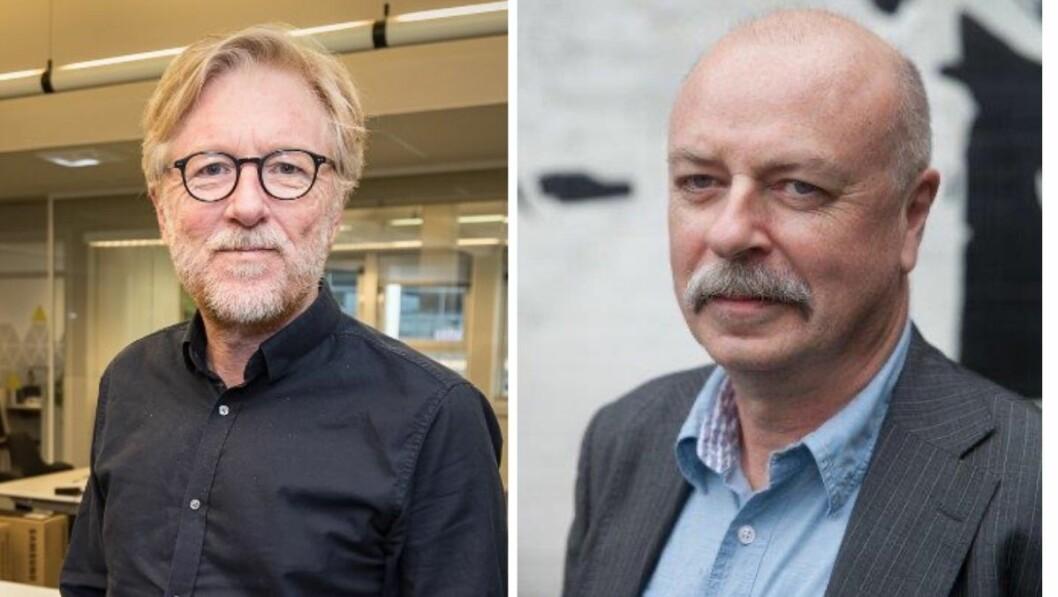 Redaktør i Firda, Kai Aage Pedersen, og kommunikasjonssjef i Helse Førde, Terje Ulvedal.