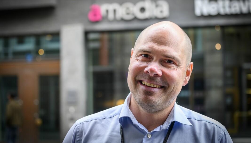 Konsernsjef Anders Opdahl i Amedia var fredag i Trondheim.