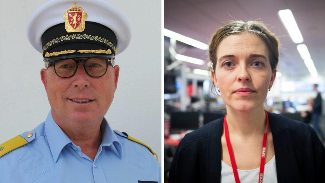 Fungerende sjef for Utrykningspolitiet i Norge, Roar Skjelbred Larsen, og VGs nyhetsredaktør Tora Bakke Håndlykken.