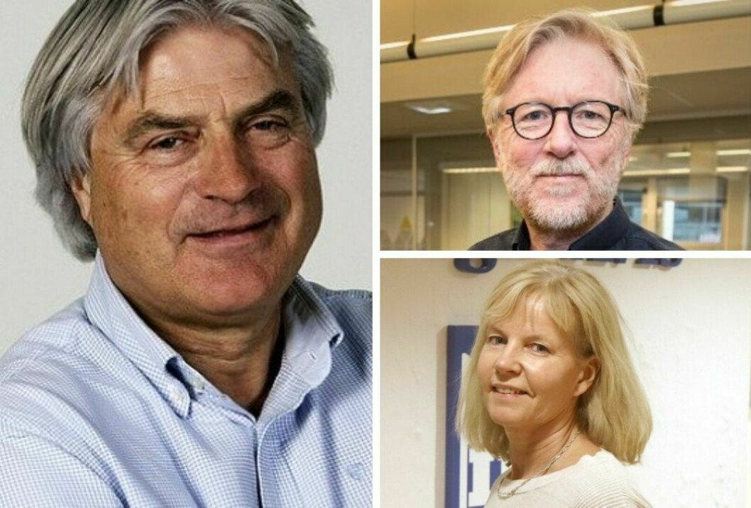 Gunnar Bodahl-Johansen, redaktør Kai Aage Pedersen i Firda og redaktør Eli Grotle i Sogn Avis.