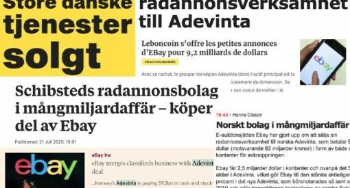 Dette skriver utenlandske medier om Adevinta-oppkjøpet: – Oppsiktsvekkende milliardhandel
