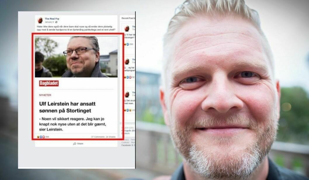 Svein Vathne la ned satirekontoen «The Real Frp» etter at en regning fra NTB scanpix kom grunnet bildet innfelt.