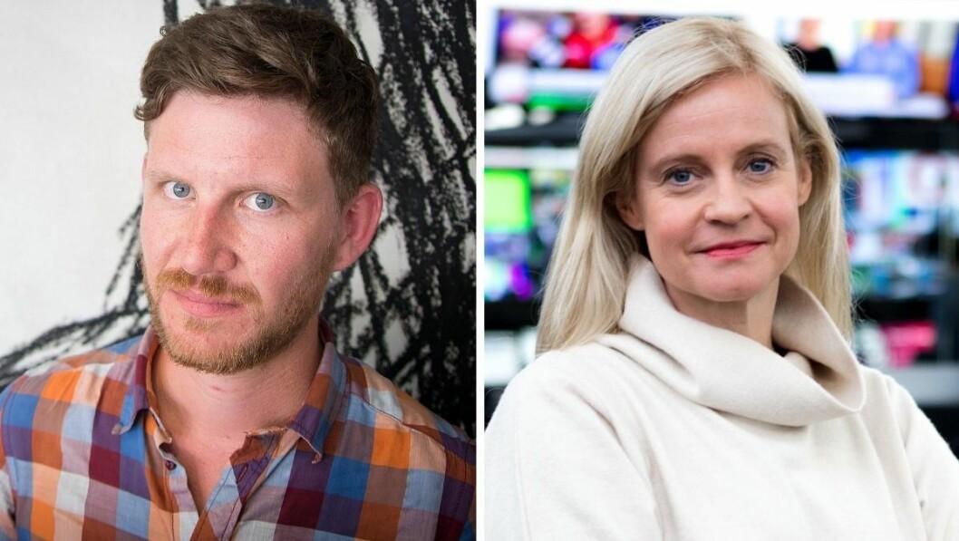 Jens Kihl, politisk kommentator i Bergens Tidende og nyhetsredaktør Karianne Solbrække i TV 2.