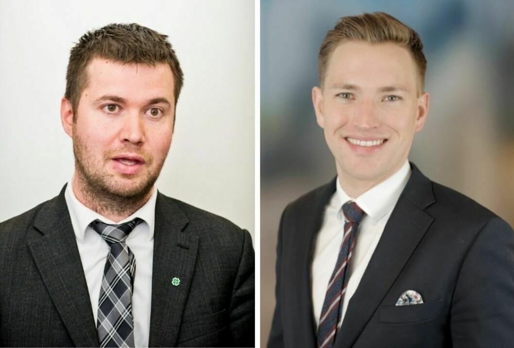 Stortingsrepresentant Geir Pollestad (Sp) og kommunikasjonssjef Daniel Torkildsen Lea (Høyre).