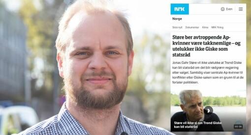 Reagerer på Giske-vinkling etter Støre-intervju: – Forventer mer av NRK